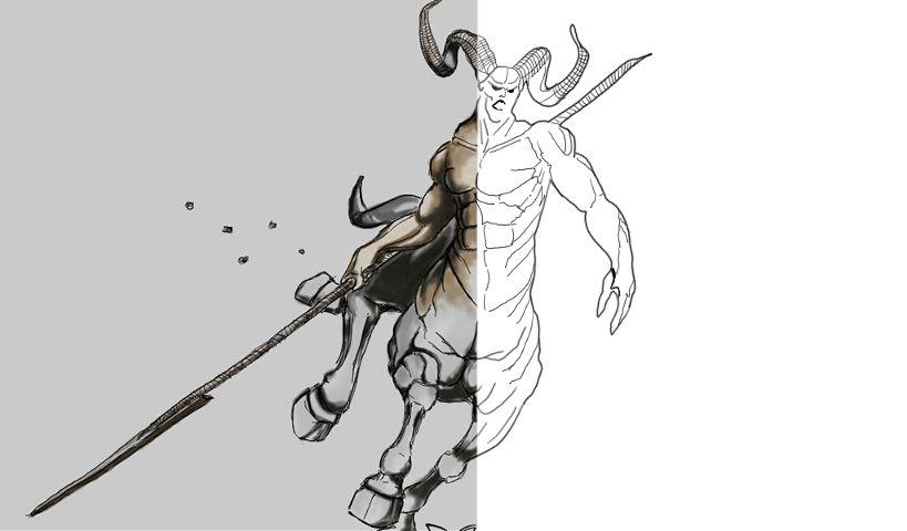 Centaur drawing steps