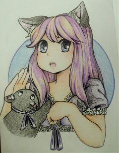 drawing pencil art girl anime adahra