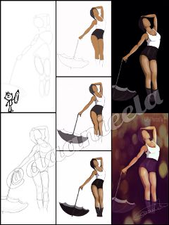 drawingstepbystep drawing rihanna umbrella people