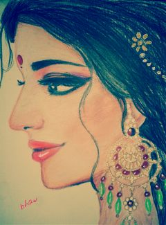 colorful drawing girl pencil art ethnic