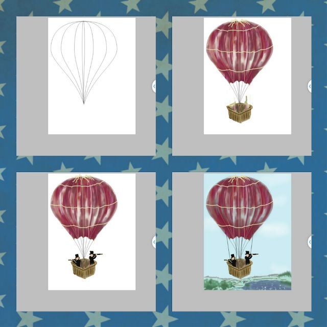 how to draw a hot air balloon step by step