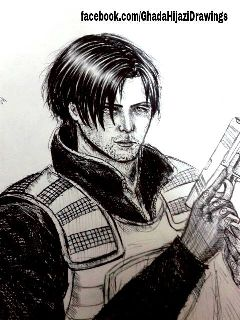 resident evil black & white art drawing sketch