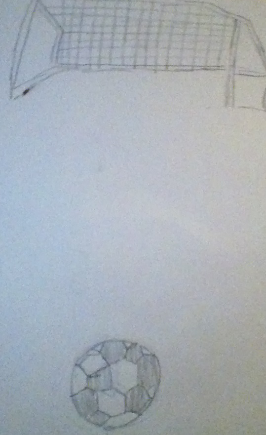 this photo was sketche d by me and is showing the ball has been kicked and is in the middle of the field!! PLEASE VOTE!!