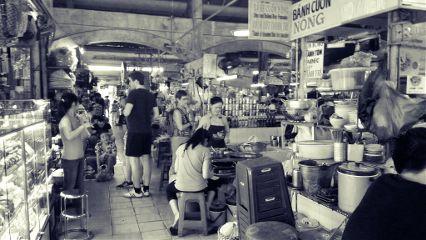 market hochiminh vietnam travel black & white