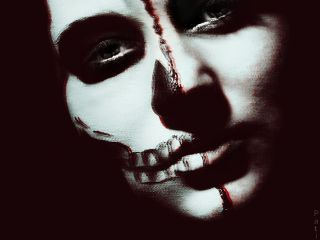 waphalloweenholga skullmakeup skull halfskull halloween