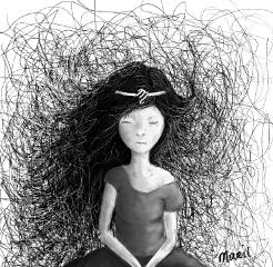 drawing art blackandwhite dreamer girl
