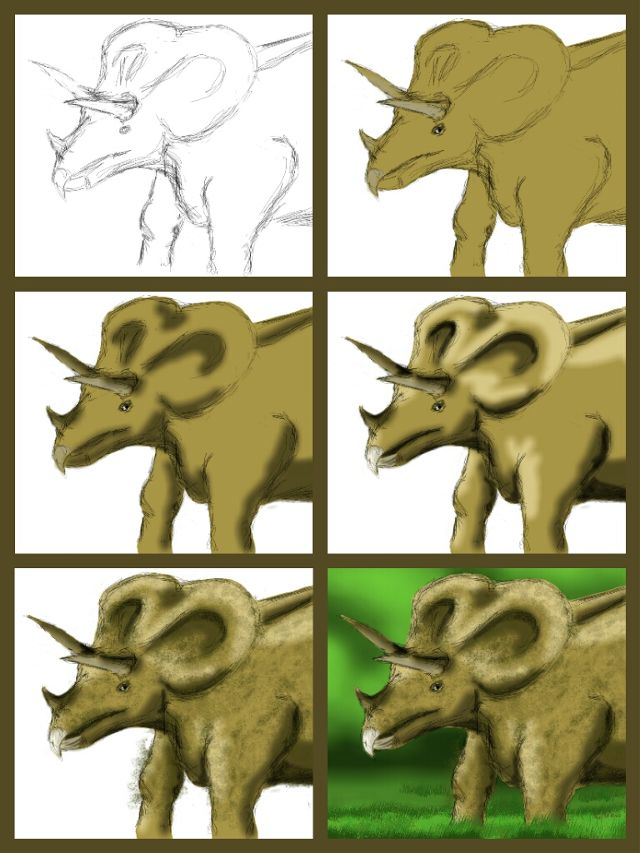 dinosaur drawing steps